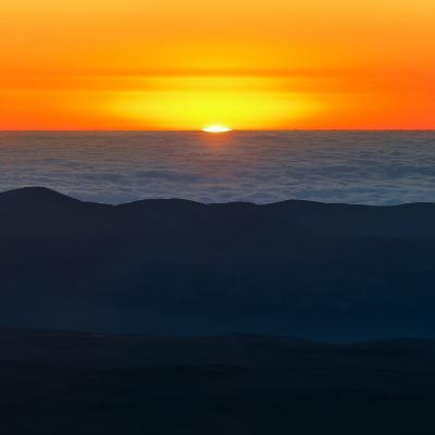 The Sun Sets over the Pacific Ocean and the Atacama Desert-Babak Tafreshi-Photographic Print