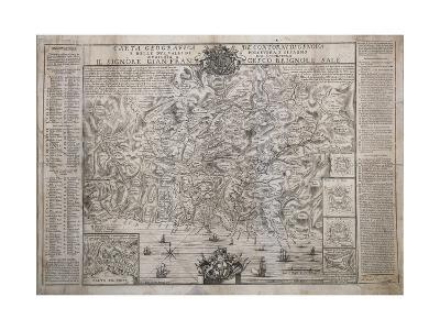 The Surroundings of Genoa, with Polcevera and Bisagno Valleys, Map--Giclee Print