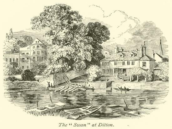 """The """"Swan"""" at Ditton--Giclee Print"""