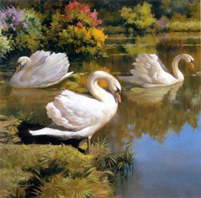 The Swans Family I-Spartaco Lombardo-Art Print