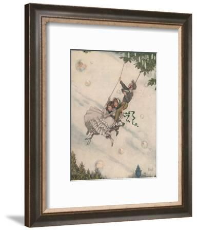 'The Swing Moves and the Bubbles Fly Upward', c1930-W Heath Robinson-Framed Giclee Print