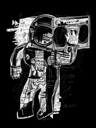 The Symbolic Image of the Astronaut Who Listens to Music on a Tape Recorder-Dmitriip-Art Print