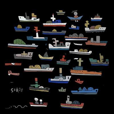 The Symbolic Image of the Ships on a Black Background-Dmitriip-Art Print
