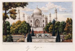 The Taj Mahal from the Garden, C.1840 (Pen and Grey Ink, W/C, Heightened with Touches of White,)
