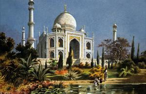 The Taj Mahal in Agra (India) Marble Mausoleum Built in 1632 - 1644