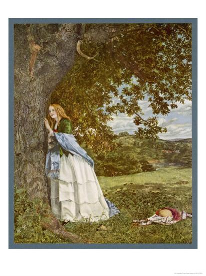 """""""The Talking Oak"""", Illustration to the Poem by Tennyson: a Girl and a Tree Share Confidences-W. Maw-Giclee Print"""