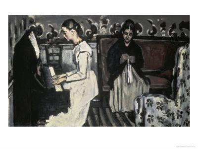 The Tannhause Overture Girl at the Piano-Paul C?zanne-Giclee Print