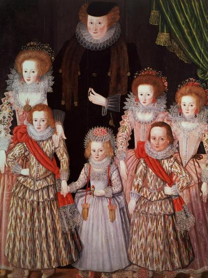 The Tasburgh Group: Lettice Cressy, Lady Tasburgh of Bodney, Norfolk and Her Children, circa 1605--Giclee Print