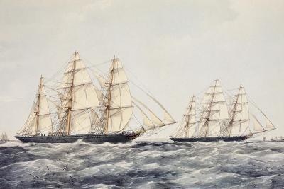The Tea Clippers Taeping (Left) and Ariel (Right) in the Great Tea Race of 1866-Thomas Goldsworth Dutton-Giclee Print