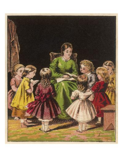 The Teacher Reads an Improving Story to the Children--Giclee Print