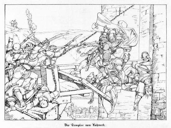 The Templars of Lahneck, Engraved by J. Dielmann-Alfred Rethel-Giclee Print