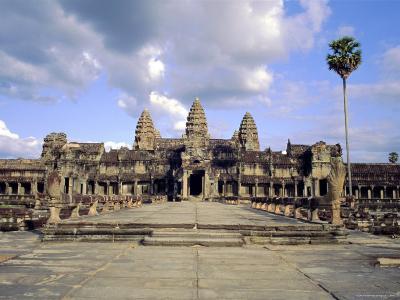 The Temple of Angkor Wat, Angkor, Siem Reap, Cambodia-Tim Hall-Photographic Print