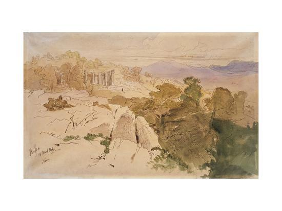 The Temple of Apollo at Bassae-Edward Lear-Giclee Print