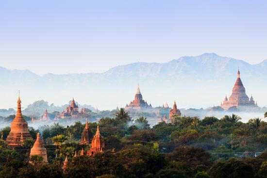 The Temples of Bagan at Sunrise, Bagan, Myanmar-lkunl-Photographic Print