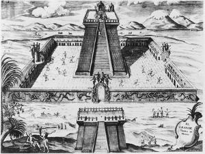 """The Templo Mayor at Tenochtitlan, from """"Historia de Nueva Espana"""", 1770"""