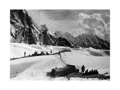 The Tents of the Hunza and of the Italian Alpinists of the Ascent of K2 at Concordia Camp--Photographic Print