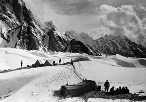 The Tents of the Hunza and of the Italian Alpinists of the Ascent of K2 at Concordia Camp