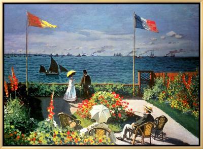 The Terrace at Sainte-Adresse, 1867-Claude Monet-Framed Canvas Print