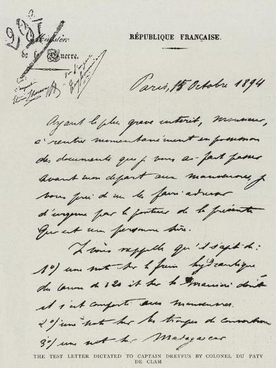 The Test Letter Dictated to Captain Dreyfus by Colonel Du Paty De Clam--Giclee Print