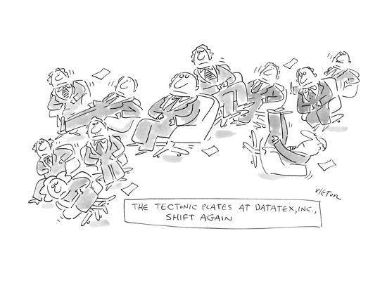 The Textonic Plates At Datatex, INC. Shift Again - New Yorker Cartoon-Dean Vietor-Premium Giclee Print