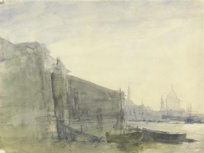 The Thames, Early Morning, Toward St. Paul'S, C.1849 (W/C with Graphite on Paper)-John William Inchbold-Giclee Print