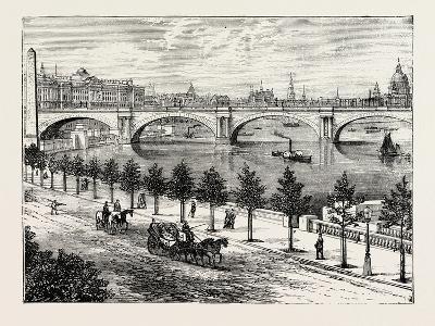 The Thames Embankment and Waterloo Bridge 1895--Giclee Print