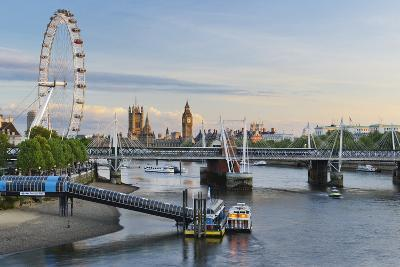 The Thames, Hungerford Bridge, Westminster Palace, London Eye, Big Ben-Rainer Mirau-Photographic Print
