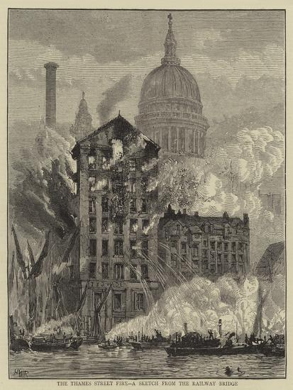 The Thames Street Fire, a Sketch from the Railway Bridge-Henry William Brewer-Giclee Print