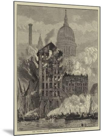 The Thames Street Fire, a Sketch from the Railway Bridge-Henry William Brewer-Mounted Giclee Print