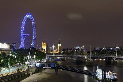 The Thames with London Eye and the Houses of Parliament, at Night, London, England, Uk-Axel Schmies-Photographic Print