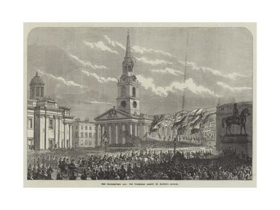 The Thanksgiving Day, the Procession Passing St Martin's Church--Giclee Print