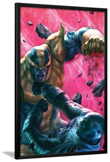 The Thanos Imperative No.4 Cover: Drax and Thanos Fighting-Aleksi Briclot-Lamina Framed Poster
