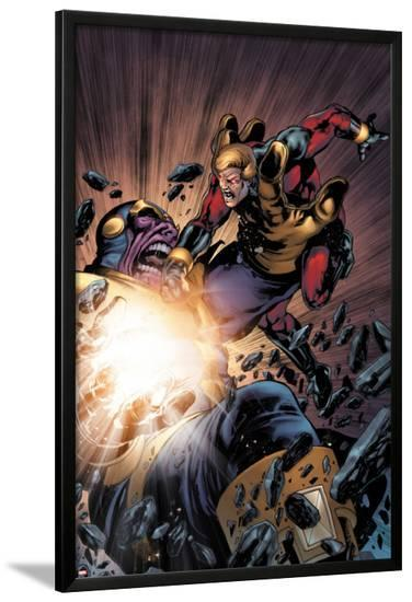 The Thanos Imperative No.5: Captain America and Thanos Fighting-Miguel Angel Sepulveda-Lamina Framed Poster