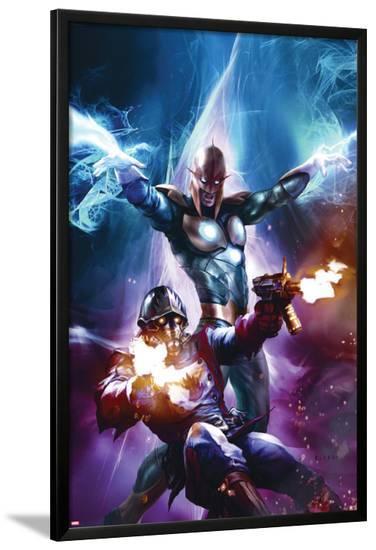 The Thanos Imperative No.6 Cover: Star-Lord and Nova Shooting-Aleksi Briclot-Lamina Framed Poster