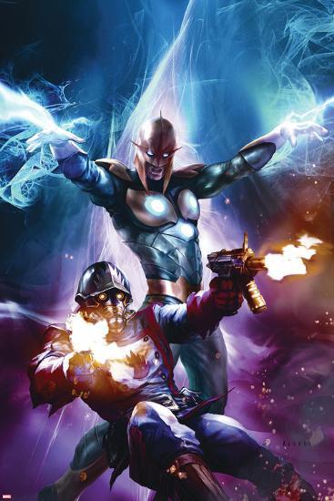 The Thanos Imperative No.6 Cover: Star-Lord and Nova Shooting-Aleksi Briclot-Art Print