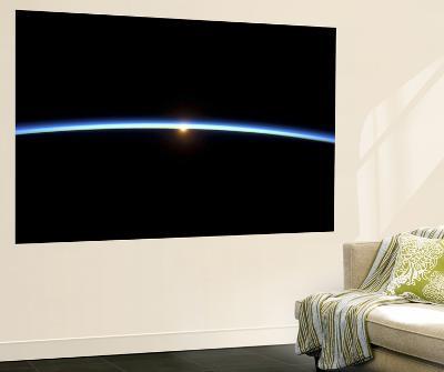 The Thin Line of Earth's Atmosphere and the Setting Sun--Giant Art Print