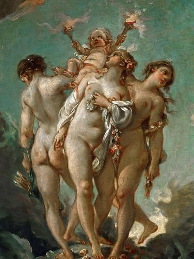The Three Graces Holding Cupid-Fran?ois Boucher-Giclee Print