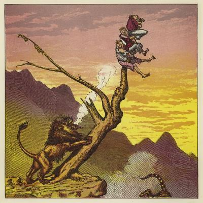 The Three Mariners Escape a Lion by Climbing a Tree-Ernest Henry Griset-Giclee Print