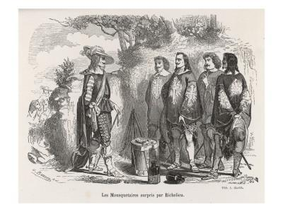 The Three Musketeers and D'Artagnan are Surprised by Richelieu--Giclee Print