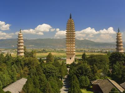 The Three Pagodas, and Erhai Lake in Background, Dali Old Town, Yunnan Province, China-Jochen Schlenker-Photographic Print