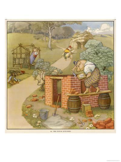 The Three Pigs Build Their Respective Houses out of Bricks Straw and Sticks--Giclee Print
