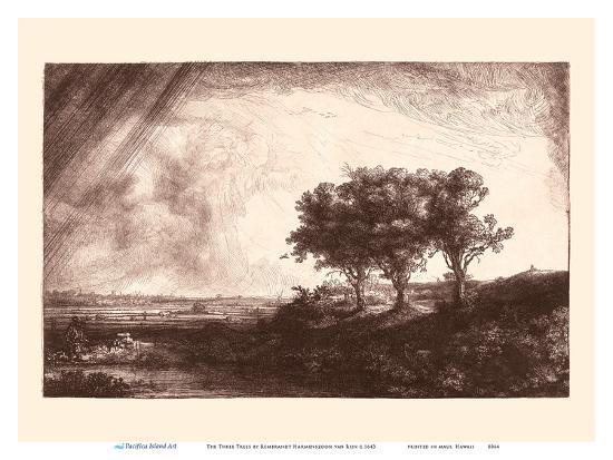 The Three Trees-Rembrandt van Rijn-Art Print