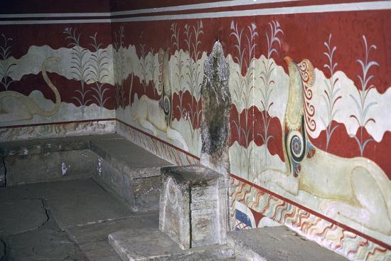 The throne room of the Minoan royal palace at Knossos, c.21st -14th century BC-Unknown-Photographic Print
