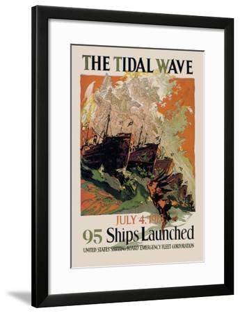 The Tidal Wave, 95 Ships Launches--Framed Art Print
