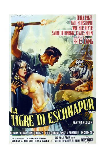 The Tiger of Eschnapur, (AKA Der Tiger Von Eschnapur), Italian Poster Art, 1959--Giclee Print