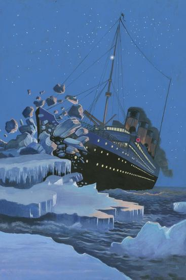 The Titanic Collides with an Iceberg on the 28th Aprl 1912-English School-Giclee Print
