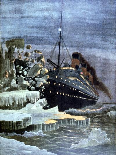 The 'Titanic' Colliding with an Iceberg, 1912--Giclee Print