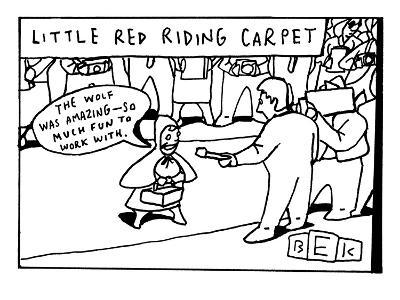 """The title reads, """"Little red riding carpet.""""  Little Red Riding Hood is se? - New Yorker Cartoon-Bruce Eric Kaplan-Premium Giclee Print"""