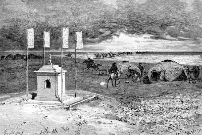 The Tomb of a Lama and an Encampment, Mongolian Desert, C1890-Ivan Pranishnikoff-Giclee Print
