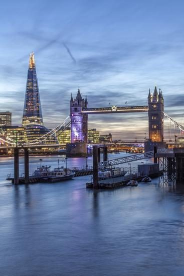 The Tower Bridge in London Seen from the East at Dusk, London, England-David Bank-Photographic Print